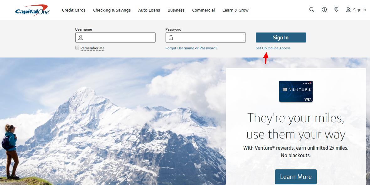 Capital One Credit Cards Set Up Account