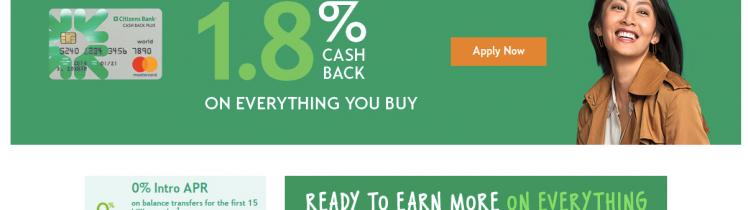 Cash Back Plus World Mastercard Citizens Bank Logo