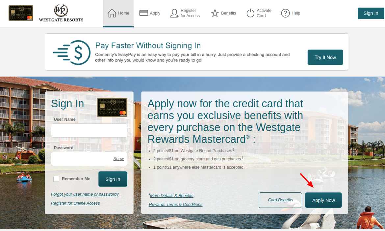 Westgate Rewards MasterCard Apply
