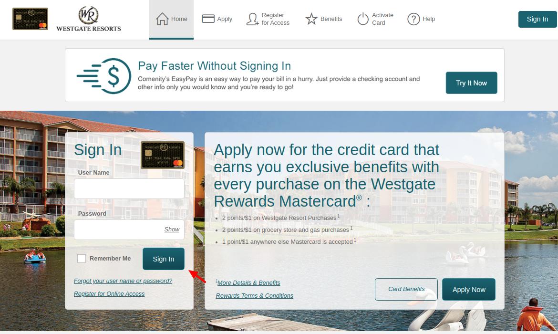 Westgate Rewards MasterCard Sign In