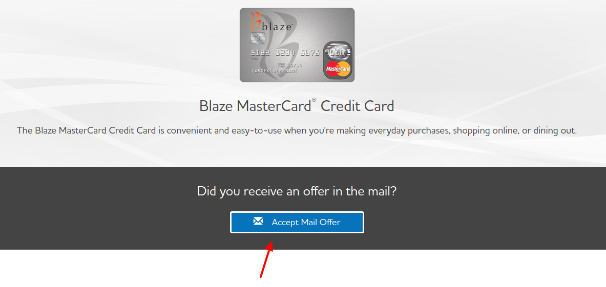 Blaze Mastercard Credit Card Accept mail Offer