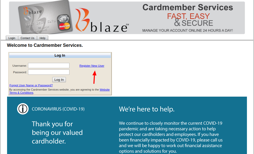 Blaze Mastercard Register