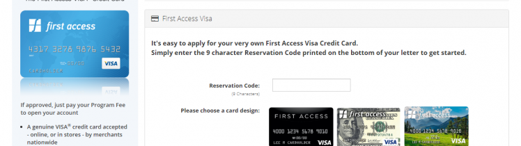 apply for the First Access Visa Credit Card