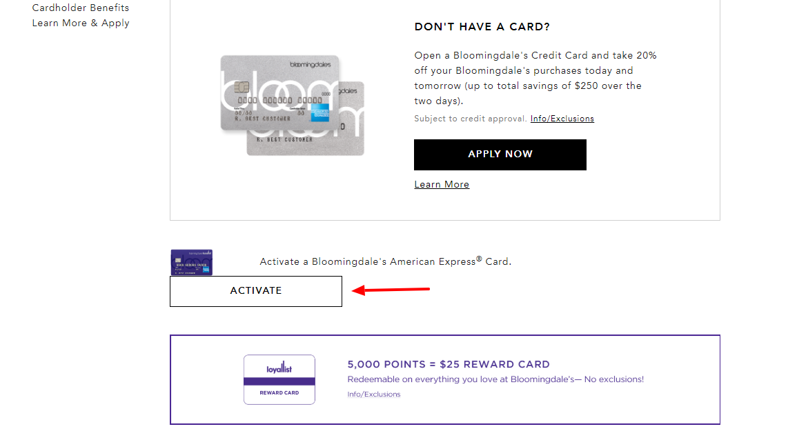 Bloomingdale's Credit Card Activate