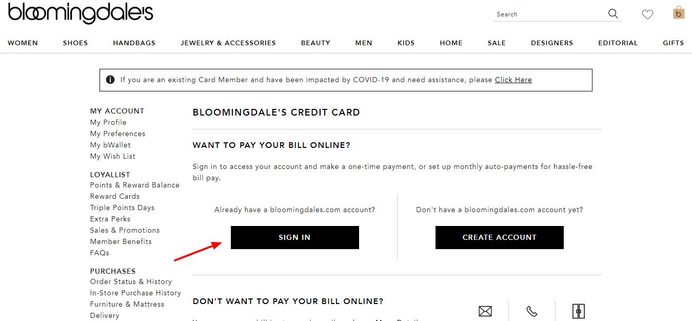 Bloomingdale's Credit Card Sign In