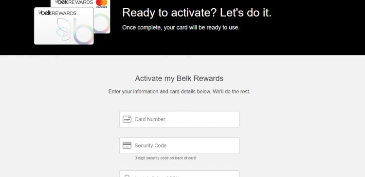 Belk Credit Card Activation without Online Account