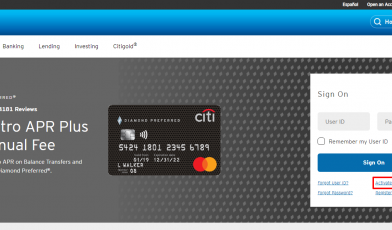 Citi Credit Card activation