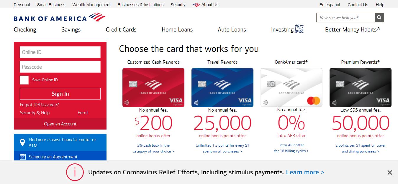 Bank of America Banking Credit Card Login