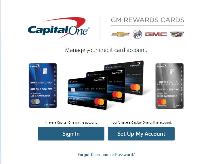 gm credit card login