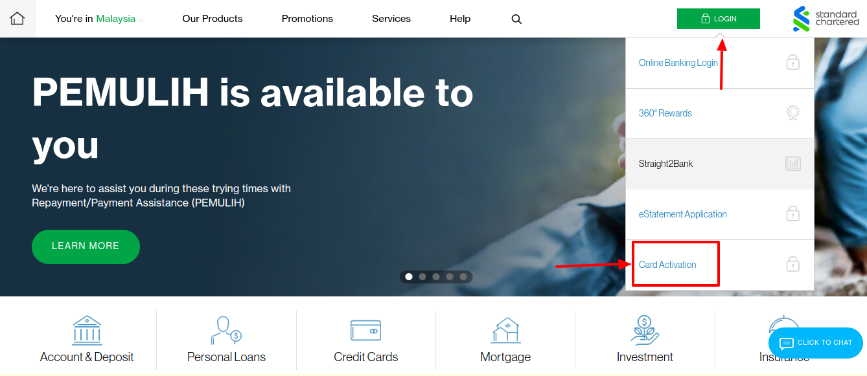 activate standard chartered debit card
