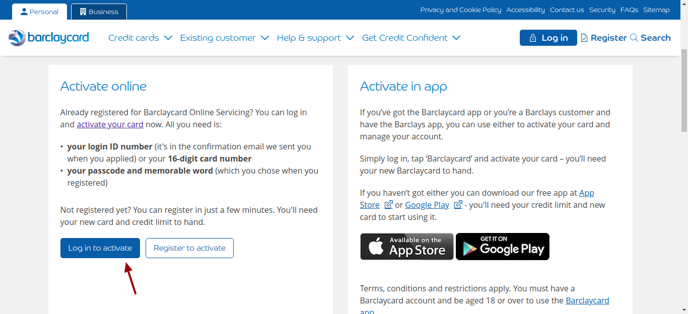 barclaycard card activation