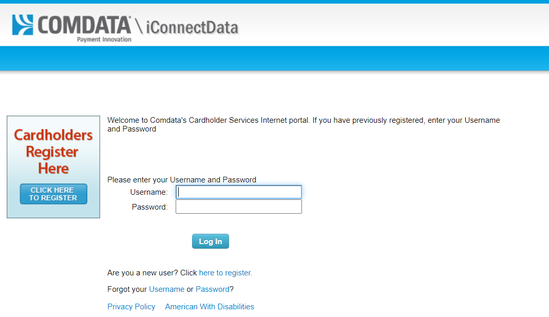 comdata credit card login