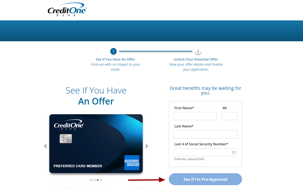 credit one credit card pre approval
