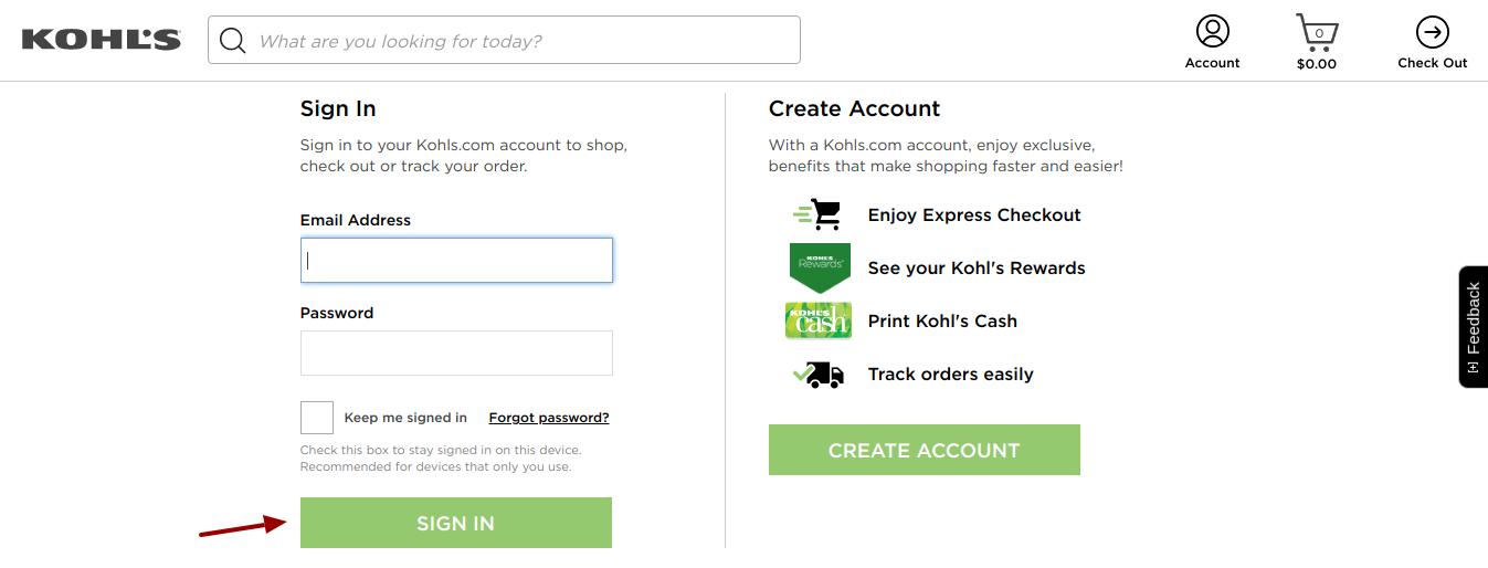 kohls credit card login