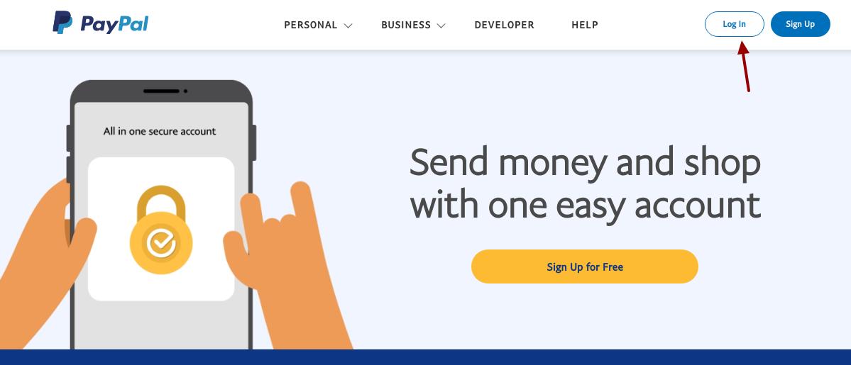 paypal credit card login