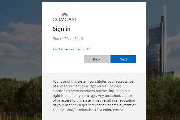 team comcast login
