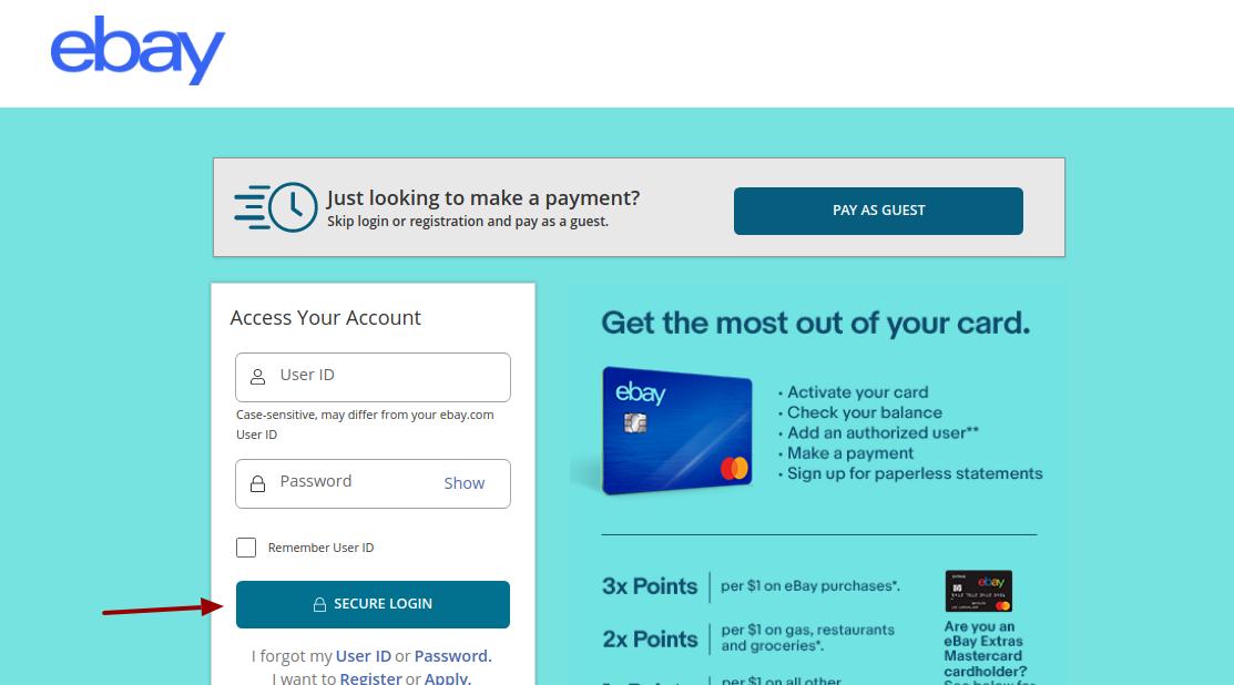 ebay credit card login