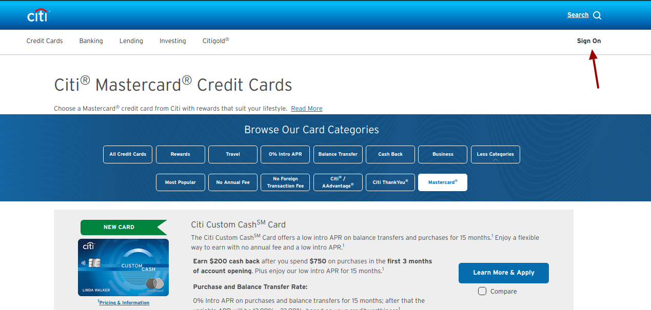 citi mastercard credit card login