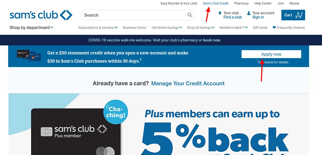 sam's credit card apply